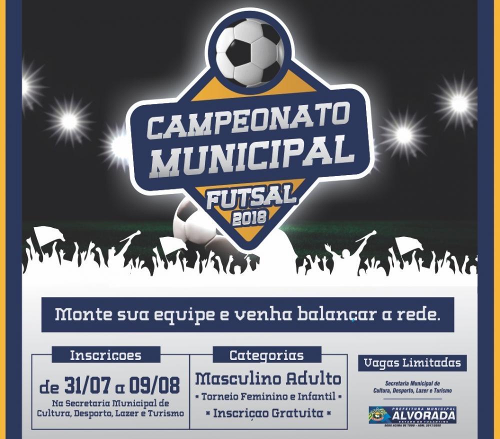 Aberto as inscrições para Campeonato de Futsal Municipal - Prefeitura de  Alvorada 63fd3584c34c9